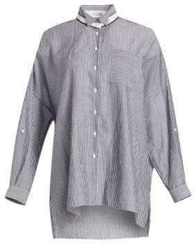Brunello Cucinelli Women's Oversize Striped Button-Down Shirt - White Black - Size XS