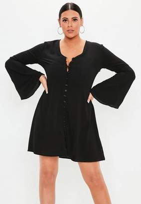 Missguided Plus Size Black Flare Sleeve Button Skater Dress