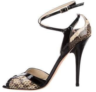 Jimmy Choo Snakeskin Ankle Strap Sandals