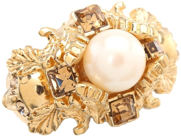 Alexander McQueen Pearl Ring (Gold) - Jewelry
