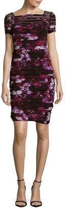 Adrianna Papell Women's Floral Yoke Banded Dress