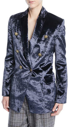 Brunello Cucinelli Double-Breasted Crushed Velvet Blazer w/ Brass Button