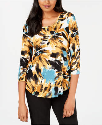 JM Collection Petite Printed Shirttail-Hem Top