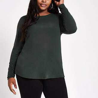 River Island Womens Plus dark green crew neck long sleeve top