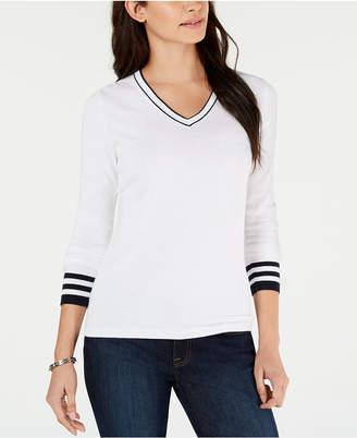 Tommy Hilfiger Ivy Cotton Striped-Trim Sweater