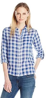 Caribbean Joe Women's Plus Size Gingham Gauze Button up Shirt