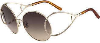 Chloe Jackson Oversized Round Metal Sunglasses, Havana/Gold $396 thestylecure.com
