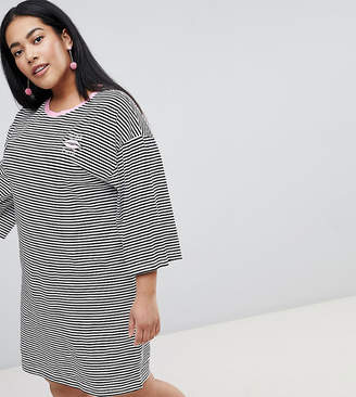 Flared Sleeve Striped T-Shirt Dress with Embroidery - Black / white Chorus Petite Free Shipping Pay With Visa Manchester Great Sale Sale Online Sale Reliable Discount Prices Choice Sale Online XsN4J