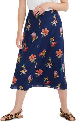 Madewell Bird of Paradise Atrium Silk Midi Skirt