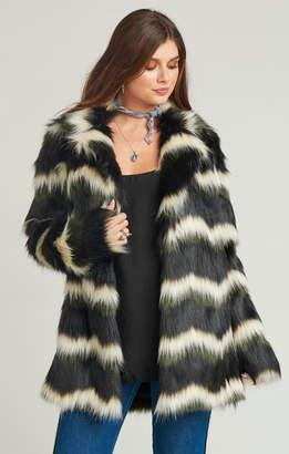 Show Me Your Mumu Raymond Jacket ~ Zig Zag Faux Fur Olive