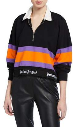 Palm Angels Cropped Striped Polo Top with Logo Hem