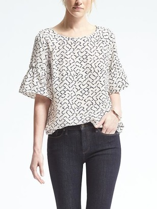 Easy Care Print Flutter-Sleeve Top $78 thestylecure.com
