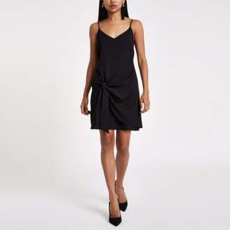 River Island Womens Petite black tie front cami slip dress