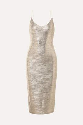 Alice + Olivia Delora Textured-lame Midi Dress - Gold