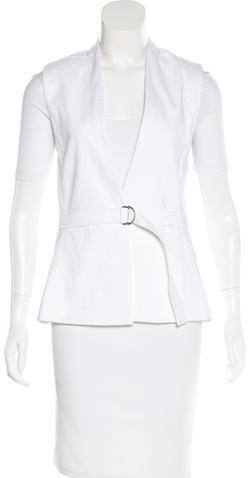 Helmut LangHelmut Lang Leather-Trimmed Wrap Vest w/ Tags