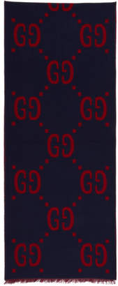 Gucci Blue and Red Signature Scarf
