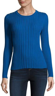 Liz Claiborne Long Sleeve Round Neck Pullover Sweater-Petite
