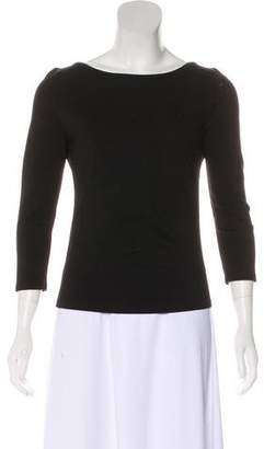 Akris Punto Long Sleeve Scoop Neck Blouse
