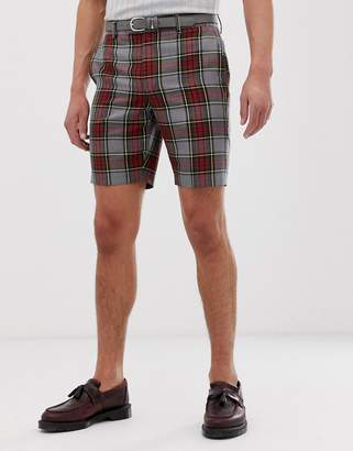 Asos Design DESIGN skinny smart shorts in grey tartan