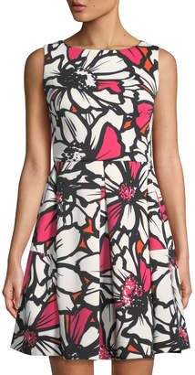 Taylor Sleeveless Abstract Floral Fit & Flare Dress