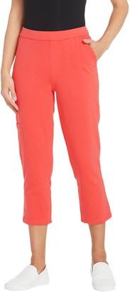 Denim & Co. Petite Comfy Knit Denim Slim Leg Cargo Crop Jean