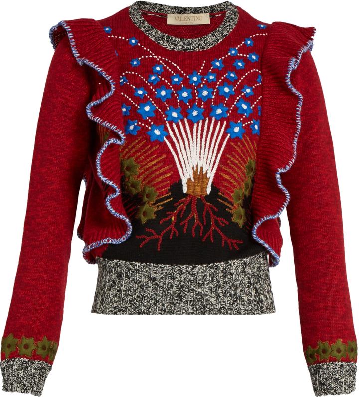 VALENTINO Enchanted Volcano ruffled-shoulder sweater