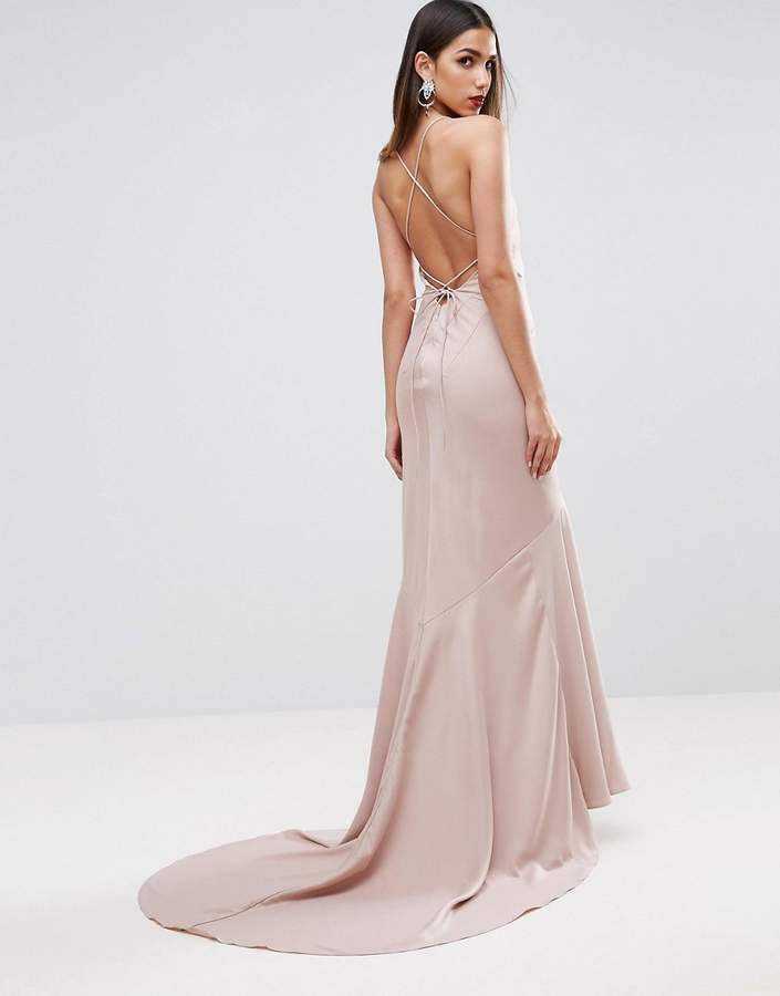 Asos ASOS RED CARPET Deep Plunge Fishtail Maxi