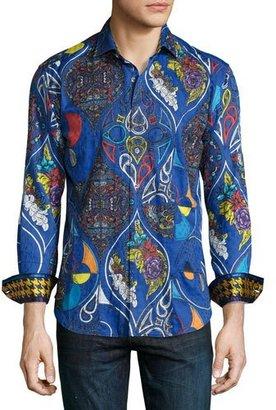 Robert Graham Limited Edition Floral Print Sport Shirt, Blue $398 thestylecure.com
