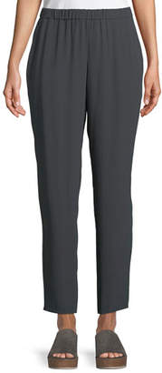 Eileen Fisher Silk Georgette Ankle Pants, Plus Size