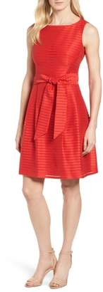 Anne Klein Shadow Stripe Fit & Flare Dress