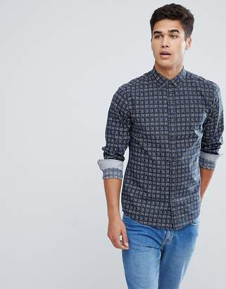 Solid Shirt In Navy With Square Print