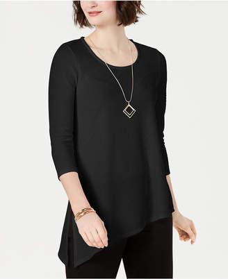JM Collection Petite Textured Necklace Tunic