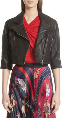 Yigal Azrouel Crop Leather Moto Jacket