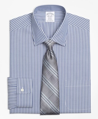 Brooks Brothers Stretch Regent Fitted Dress Shirt, Non-Iron Ground Stripe