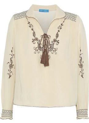 MiH Jeans Hiller Embroidered Cotton-gauze Top