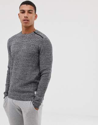 Jack and Jones Core knitted sweater with shoulder zip