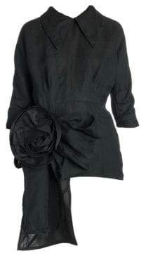Miu Miu Washed Gazar Short Sleeve Rose Dress