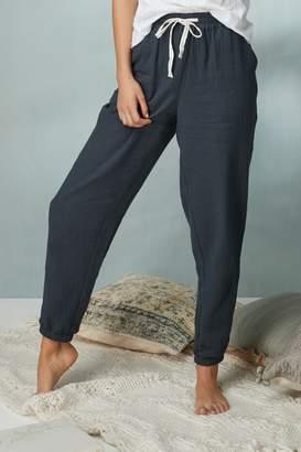 Next Womens Navy Textured Cotton Joggers - Blue