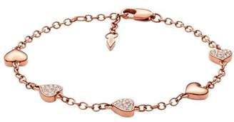 Fossil Heart Rose Gold-Tone Brass Bracelet jewelry ROSE GOLD