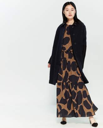 Alysi Navy & Black Leather Collar Wool-Blend Coat