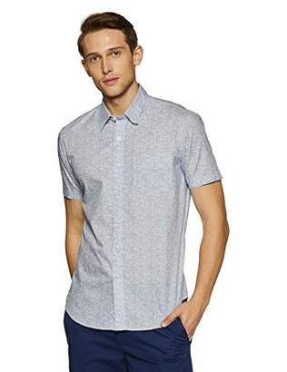 Casual Terrains Men's Tailored Slim-Fit Short-Sleeve Button-Down Shirt with Pocket