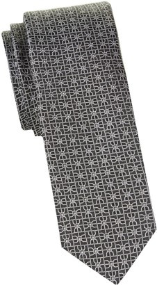 HUGO Geometric-Print Skinny Silk Tie