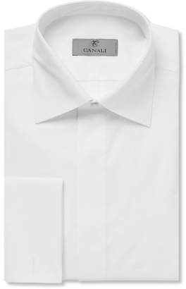 Canali White Double-Cuff Cotton-Piqué Tuxedo Shirt