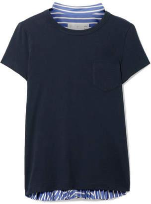 Sacai Cotton-jersey And Striped Cotton-poplin T-shirt - Navy