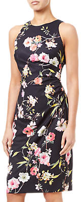 Adrianna Papell Sheath Ruche Floral Dress, Black/Multi