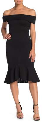 Blvd Off-the-Shoulder Ruffled Bodycon Dress