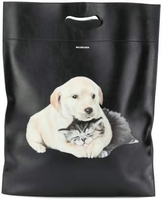 Balenciaga puppy and kitten plastic bag M shopper tote