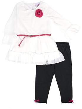 Nannette Novelty Lace Chiffon Top and Legging, 2-Piece Outfit Set with Braided Belt (Little Girls)
