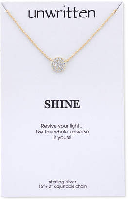 Unwritten Gold-Tone Sterling Silver Pave Disc Pendant Necklace