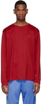Acne Studios Red Elwood Face Long Sleeve T-Shirt